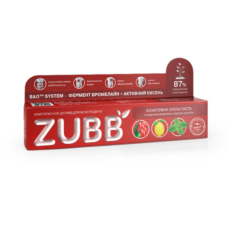 Биоактивная зубная паста ZUBB со вкусом барбариса, лимона и мяты