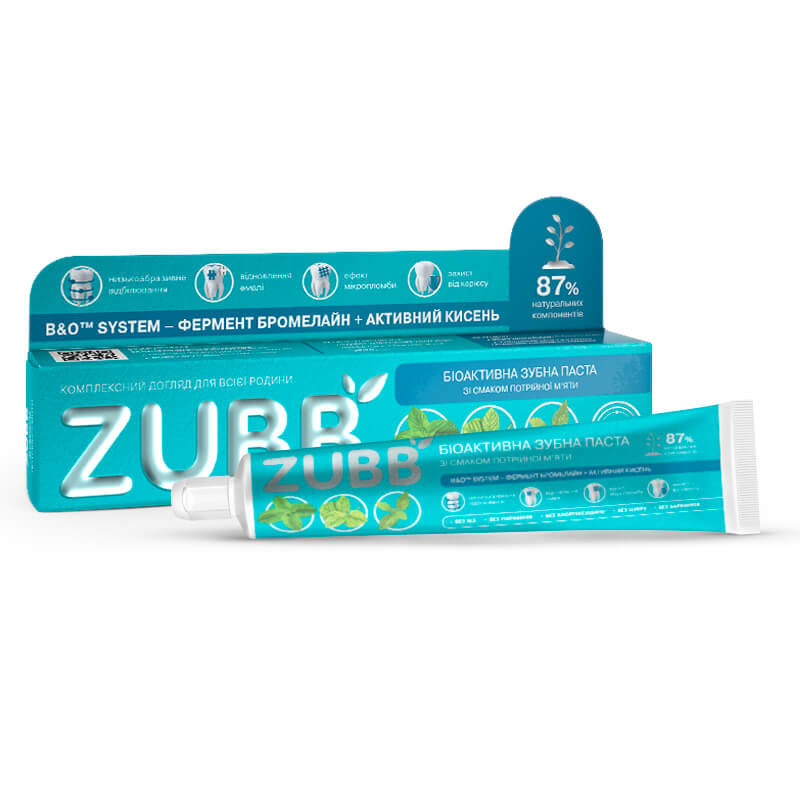 Биоактивная зубная паста ZUBB со вкусом тройной мяты